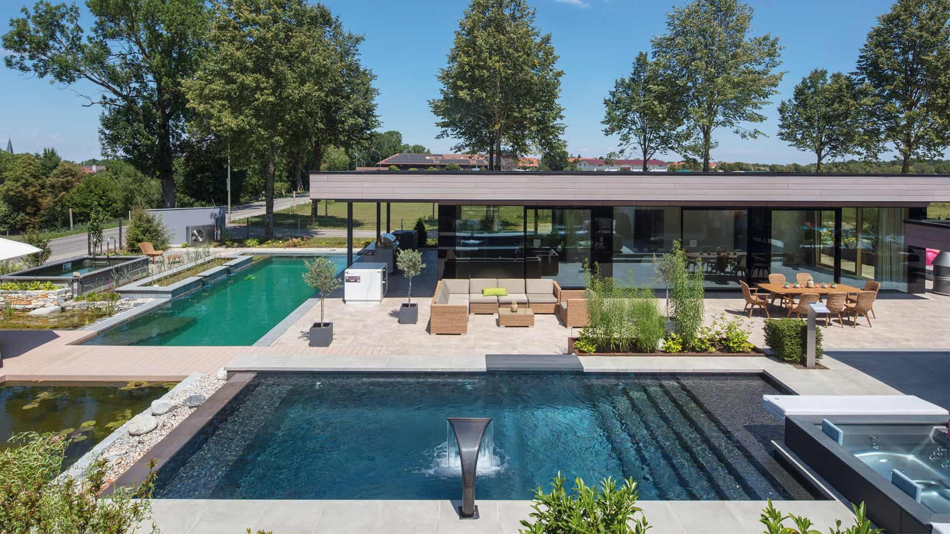 rivierapool poolbau hofquartier einrichtung. Black Bedroom Furniture Sets. Home Design Ideas